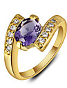 2016 Luxurious 18K Gold Plated Purple Cubic Zirconia Engagement Rings For Women