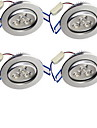 3W LED Recessed Lights 3 High Power LED 300 lm Warm White Decorative AC 85-265 V 4 pcs