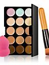 15 цветов контура крем для лица макияж маскирующее палитра + губка слоеного порошок кисть для румян маскирующее фундамента