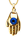 Archaize 18k Gold Plated Blue Eye & Hand Pendant Unisex Trendy Necklace Jewelry Gift P30150