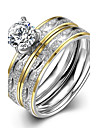 New Fashion Ripple White Zircon Gold-Plated Titanium Steel Statement Rings(Silver)(1Set) Christmas Gifts
