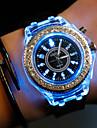 Heren Modieus horloge Unieke creatieve horloge LED Vrijetijdshorloge Kwarts Silicone Band Zwart Wit Rood Bruin