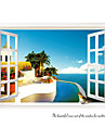 Mediterranean Scenery Window Wall Stickers Fashion Living Room Seaside Wall Decals Home And Garden