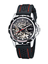 WINNER® Men\'s Watch Black Rubber Band Automatic Mechanical Skeleton Watch Cool Watch Unique Watch
