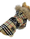 Cat / Dog Coat / Hoodie Red / Yellow Dog Clothes Winter Plaid/Check Fashion / Plaid