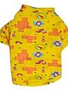 Gatos / Caes Camiseta / Camisa Azul / Amarelo Roupas para Caes Primavera/Outono Desenhos Animados / Bolinhas Da Moda DroolingDog