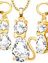 Набор украшений Ожерелье / серьги Кристалл Мода обожаемый Хрусталь Платиновое покрытие Позолота В форме животных Кот Белый Золотой