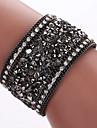 Homme Femme Bracelets Bracelets en cuir Alliage Cuir Imitation de diamant Mode Boheme Adorable Forme GeometriqueNoir Gris Bleu Dore