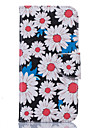 White Chrysanthemum Pattern Card Phone Holster for Samsung Galaxy S5/S6/S7/S6 edge/S7 edge