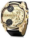 Men\'s Military Watch Quartz Calendar Dual Time Zones Leather Band Cool Black