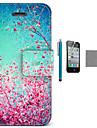 rouge coco ciel Fun® motif floral etui en cuir PU avec protecteur d\'ecran et un cable USB et un stylet pour iPhone 4 / 4S