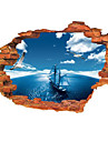 Fashion 3D Wall Sticker Blue Sky Sea Sailing Removable Art Home Decor
