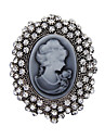 Women\'s Fashion Crystal Antique Silver Vintage Brooch Pins Jewelry Queen Rhinestone Brooches