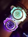아가씨들 패션 시계 손목 시계 LED 야광의 야광 석영 실리콘 밴드 스파클 멋진 캐쥬얼 블랙 화이트