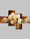 Ручная роспись Цветочные мотивы/ботанический Любая форма,Классика Modern 4 панели Hang-роспись маслом For Украшение дома
