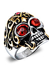 Men's Fashion Punk Style 316L Titanium Steel Vintage Personality Skull Engraved Zircon Statement Rings Casual/Daily 1pc Christmas Gifts