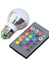3W E14 / E26/E27 Круглые LED лампы G45 1 Высокомощный LED 250lm lm RGB Регулируемая / На пульте управления / Декоративная V 1 шт.