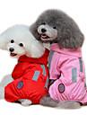 Коты Собаки Дождевик Одежда для собак Лето Весна/осень Однотонный Водонепроницаемый Красный Розовый
