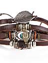 Bracelet Charmes pour Bracelets Bracelets en cuir Bracelets Alliage Cuir Forme de Feuille Chouette Mauvais Oeil Ajustable Decontracte