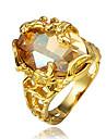 Feminino Anel Zirconia cubica bijuterias Chapeado Dourado 18K ouro Joias Para Casamento Festa Diario Casual