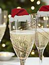 3pcs carton rouge verre de vin sur la conception de jour de Noel est aleatoire