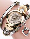아가씨들 패션 시계 팔찌 시계 캐쥬얼 시계 / 석영 PU 밴드 빈티지 Heart Shape 멋진 캐쥬얼 블랙 화이트 블루 레드 브라운