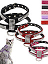 Cat / Dog Harness / Leash Adjustable/Retractable / Vest / Sequins Rhinestone / Mosaic Red / Black / Pink / Purple / Rose PU Leather