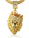 Homme Pendentif de collier Strass Forme de Couronne Forme d\'Animal Lion Or 18K or Imitation Diamant Alliage Pierre Personnalise Bijoux