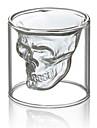 термостойкий двойная стена прозрачная голова страшно творческий череп новизны Drinkware виски вино водка выстрел стеклянная чашка