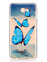 For Samsung Galaxy J7 Prime J5 Prime J710 J510 J5  J310 J3  TPU Material Blue Butterfly Pattern Painting Phone Case