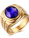 Кольца Повседневные Бижутерия Циркон Титановая сталь Мужчины Массивные кольца Кольцо 1шт,8 9 10 11 Золотой Серебряный