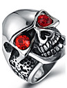 Men\'s Fashion Vintage Rock Style 316L Titanium Steel Skull Personality Engraved Zircon Jewelry Rings Casual/Daily 1pc