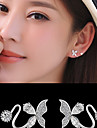 AAA Cubic Zirconia Stud Earrings Clip Earrings Jewelry Wedding Party Daily Casual Alloy Cubic Zirconia Silver Plated 1 pair Silver