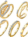 Кольцо Циркон Цирконий Медь В форме сердца В форме листа Бижутерия Уникальный дизайн Геометрический Мода обожаемый Серебряный Золотой