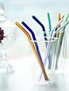 Прозрачный цветной Стаканы, # ml Многоразового использования Стекло Молоко Вода Соломинки