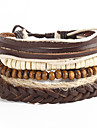 Women Valentine Wooden Beads Wax Cord Adjustable Braided Beaded Hand Woven Bracelet Jewelry Gift Khaki 5pc