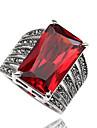 Maxi anel Anel Moda Personalizado Euramerican Estilo simples Zircao Strass Forma Geometrica Preto Vermelho Joias Para Diario Casual 1peca