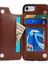 For Apple iPhone 7 Plus 7 Case Cover Card Holder with Stand Back Cover Solid Color Hard PU Leather 6s Plus 6 Plus 6 6s