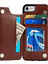 Для Бумажник для карт со стендом Кейс для Задняя крышка Кейс для Один цвет Твердый Искусственная кожа для AppleiPhone 7 Plus iPhone 7