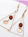 May Polly  Fashion simple geometric triangle Wooden Bead Earrings