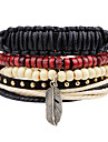 Men\'s Wrap Bracelet Fashion Vintage Punk Hip-Hop Rock Leather Geometric Jewelry For Party Anniversary Birthday Gift Sports