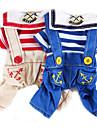 Chien Combinaison-pantalon Vetements pour Chien Mignon Mode Decontracte / Quotidien Rayure Rouge Bleu