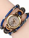 Top Women Premium Genuine Leather Watch Triple Bracelet Watch Lovers Charm Wristwatch Fashion Para Femme