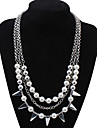 Euramerican Fashion White Luxury Elegant Three-layers Pearl Necklace Lady Party Layered Necklaces Movie Jewelry