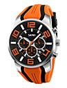 Men\'s Wrist watch Quartz Silicone Band Black Blue Red Orange Green