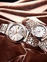 SINOBI Couple\'s Fashion Watch Japanese Quartz Shock Resistant Stainless Steel Band Luxury Silver