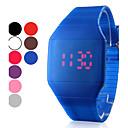 Digitale, quadratische Armbanduhr, unisex, Kautschuk-Armband, rote LED-Anzeige (mehrere Farben)