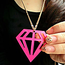 Gold Plated Alloy Diamond Pendant Necklace(Assorted Colors)