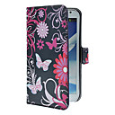 Blue Butterflies Pattern PU Leather Case with Stand and Card Slot for Samsung Galaxy Note 2 N7100