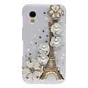 Bling Bling Noble Eiffel and Flower Design Hard Case with Rhinestone for Samsung Galaxy Ace S5830